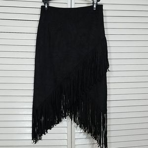 Express Assymetrical Suede Fringe Skirt